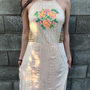 Maxi gypsy embroidery bohemia dress